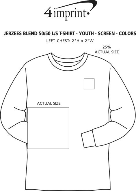 Imprint Area of Jerzees Dri-Power 50/50 LS T-Shirt - Youth - Colors - Screen