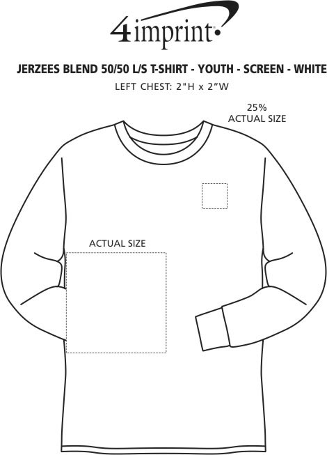 Imprint Area of Jerzees Dri-Power 50/50 LS T-Shirt - Youth - White - Screen