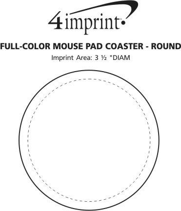 Imprint Area of Full Color Mini Mouse Pad Coaster - Round