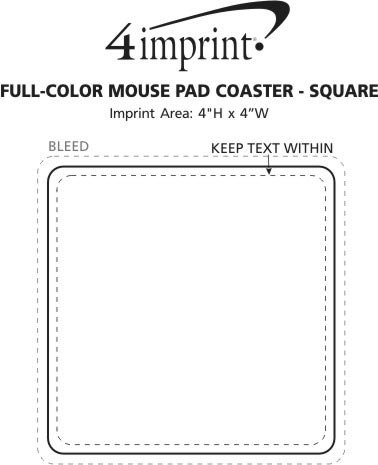 Imprint Area of Full Color Mini Mouse Pad Coaster - Square