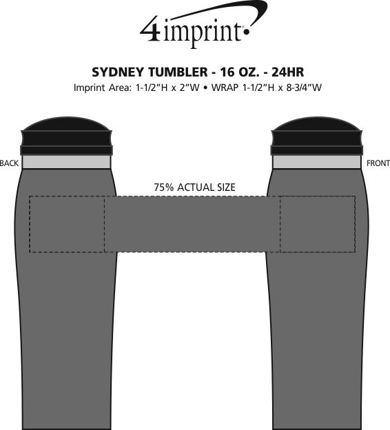 Imprint Area of Custom Sydney Travel Mug - 15 oz. - 24 hr