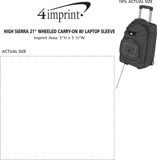 """Imprint Area of High Sierra 21"""" Wheeled Carry-On with Laptop Sleeve"""
