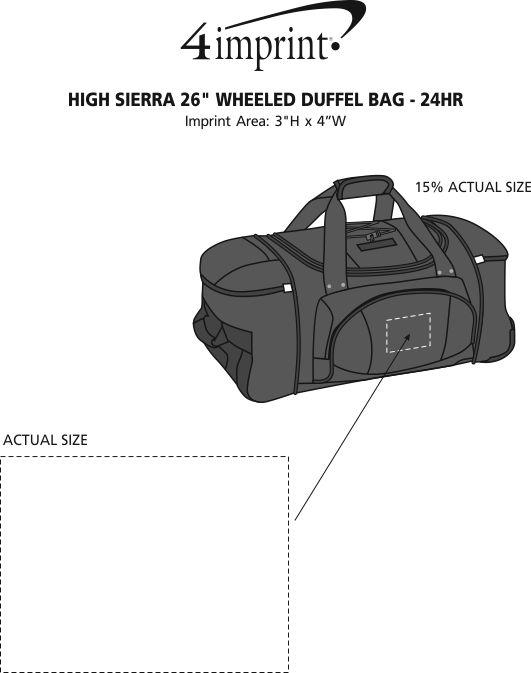 "Imprint Area of High Sierra 26"" Wheeled Duffel Bag - 24 hr"