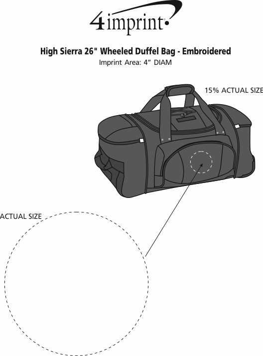 "Imprint Area of High Sierra 26"" Wheeled Duffel Bag - Embroidered"