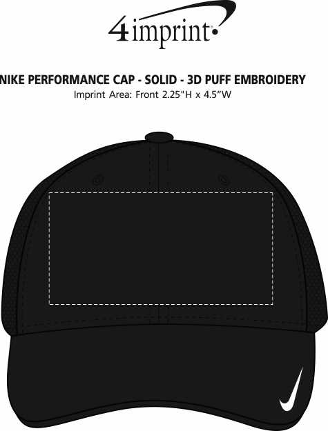 Imprint Area of Nike Performance Cap - Solid - 3D Puff Embroidery