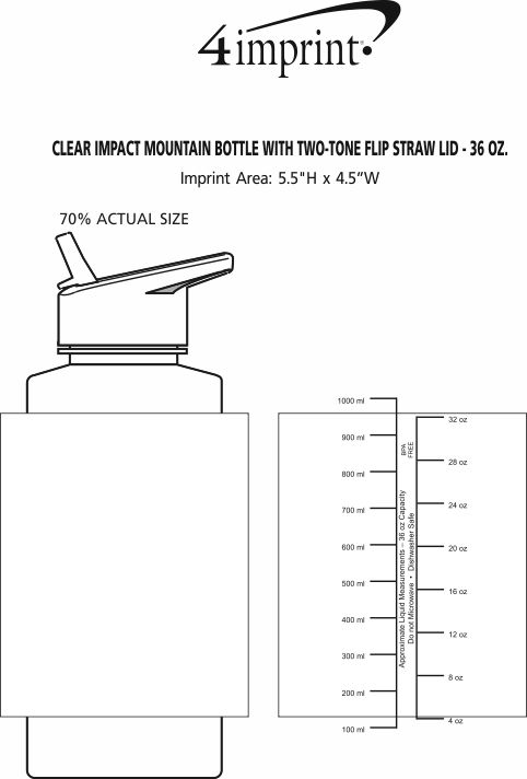 Imprint Area of Clear Impact Mountain Bottle with Two-Tone Flip Straw Lid - 36 oz.