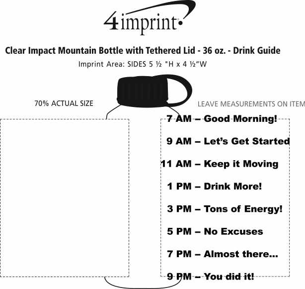 Imprint Area of Clear Impact Mountain Bottle with Tethered Lid - 36 oz. - Drink Guide