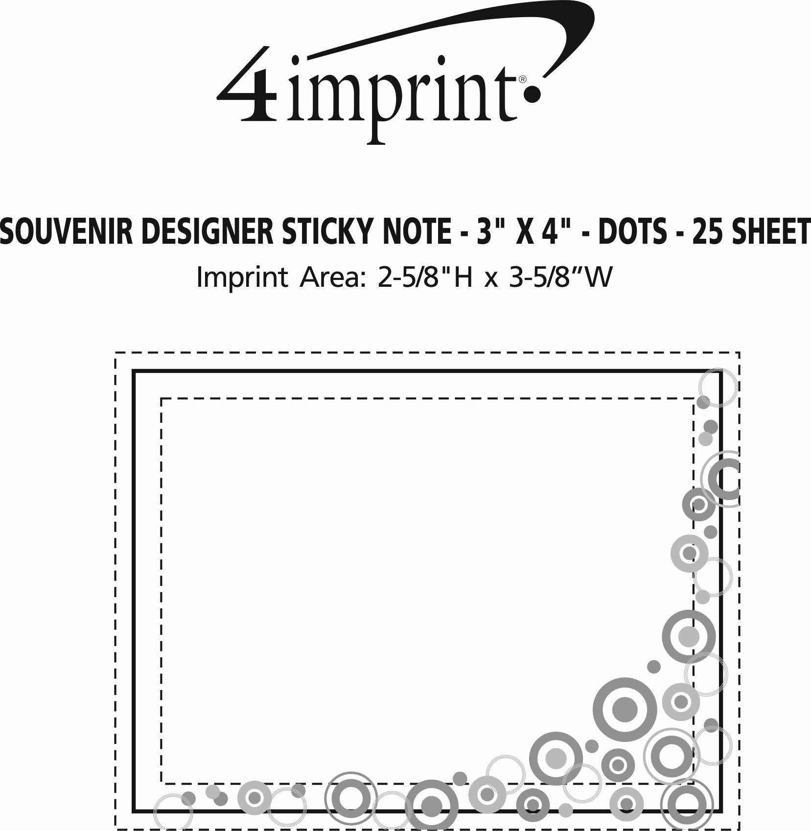 "Imprint Area of Bic Sticky Note - Designer - 3"" x 4"" - Dots - 25 Sheet"