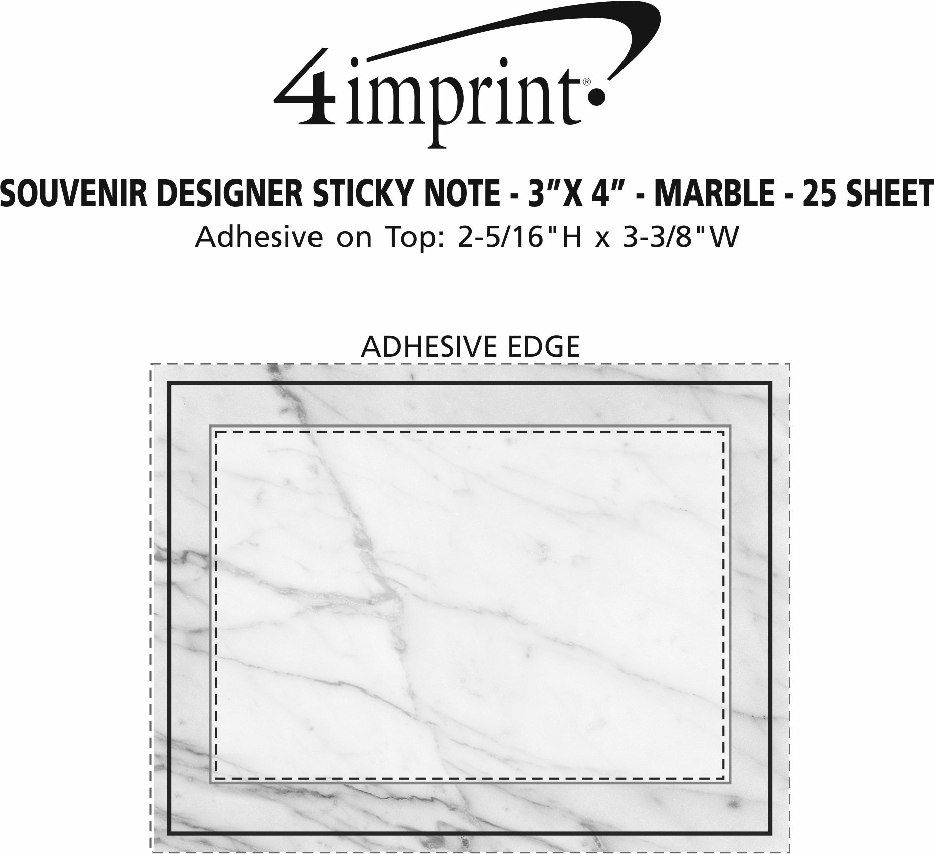 """Imprint Area of Bic Sticky Note - Designer - 3"""" x 4"""" - Marble - 25 Sheet"""