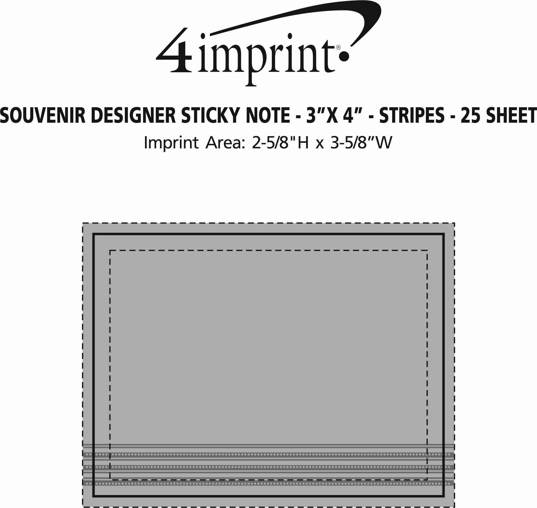"Imprint Area of Bic Sticky Note - Designer - 3"" x 4"" - Stripes - 25 Sheet"