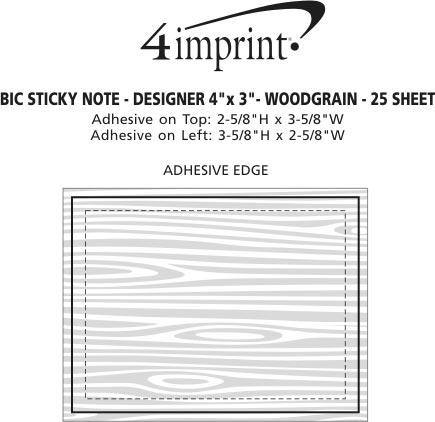 "Imprint Area of Bic Sticky Note - Designer - 3"" x 4"" - Wood Grain - 25 Sheet"