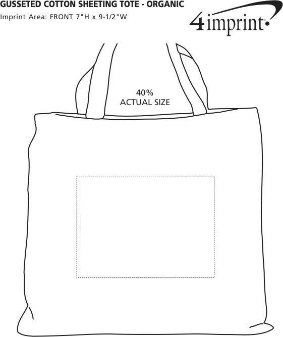 Imprint Area of Gusseted Cotton Sheeting Tote - Organic