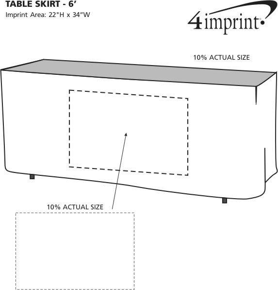 Imprint Area of Hemmed Table Skirt - 6'