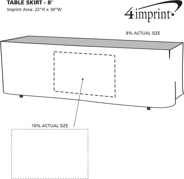 Imprint Area of Hemmed Table Skirt - 8'
