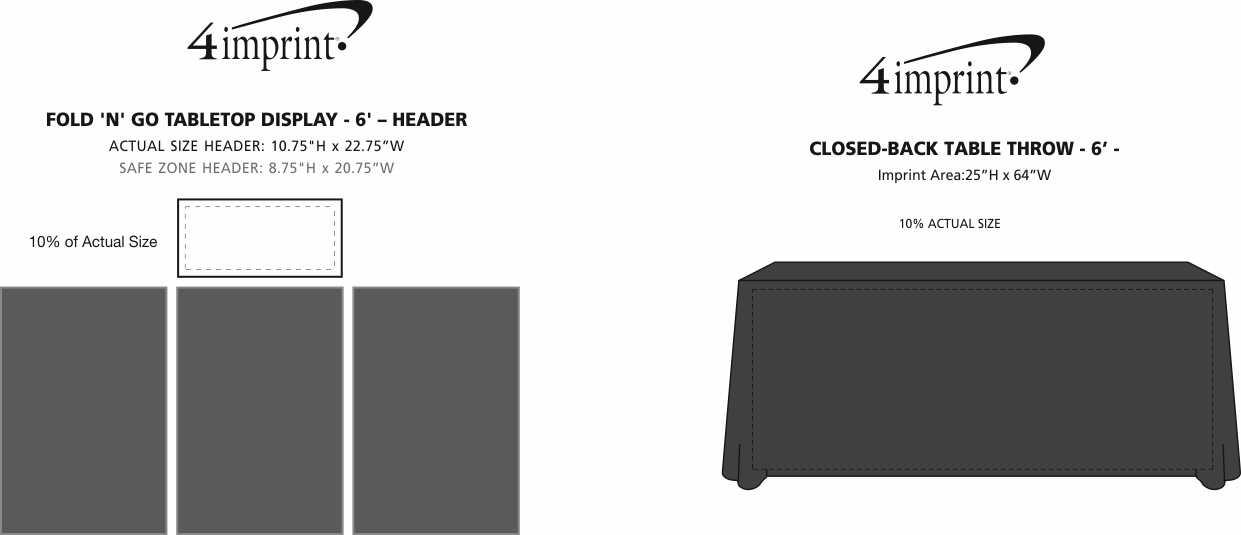 Imprint Area of Fold N Go Tabletop Display Kit - 6'- Header