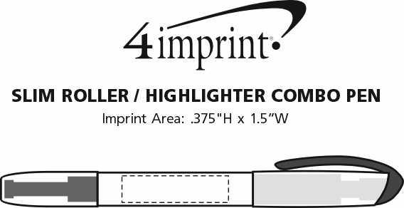 Imprint Area of Slim Roller/Highlighter Combo Pen - 24 hr