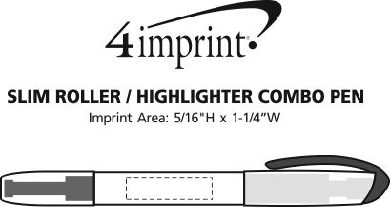 Imprint Area of Slim Roller/Highlighter Combo Pen