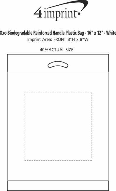 "Imprint Area of Reinforced Handle Plastic Bag - 16"" x 12"""