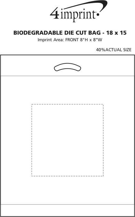 "Imprint Area of Reinforced Handle Plastic Bag - 18"" x 15"""