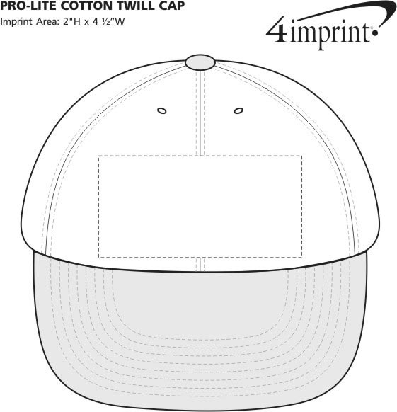Imprint Area of Pro-Lite Cotton Twill Cap