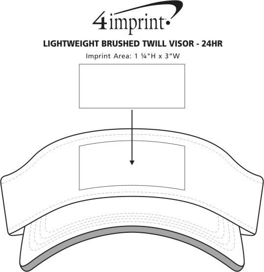 Imprint Area of Lightweight Brushed Twill Visor - 24 hr