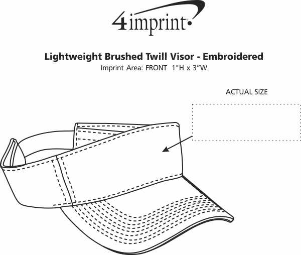 Imprint Area of Lightweight Brushed Twill Visor - Embroidered