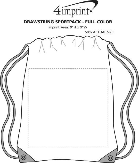 Imprint Area of Drawstring Sportpack - Full Color