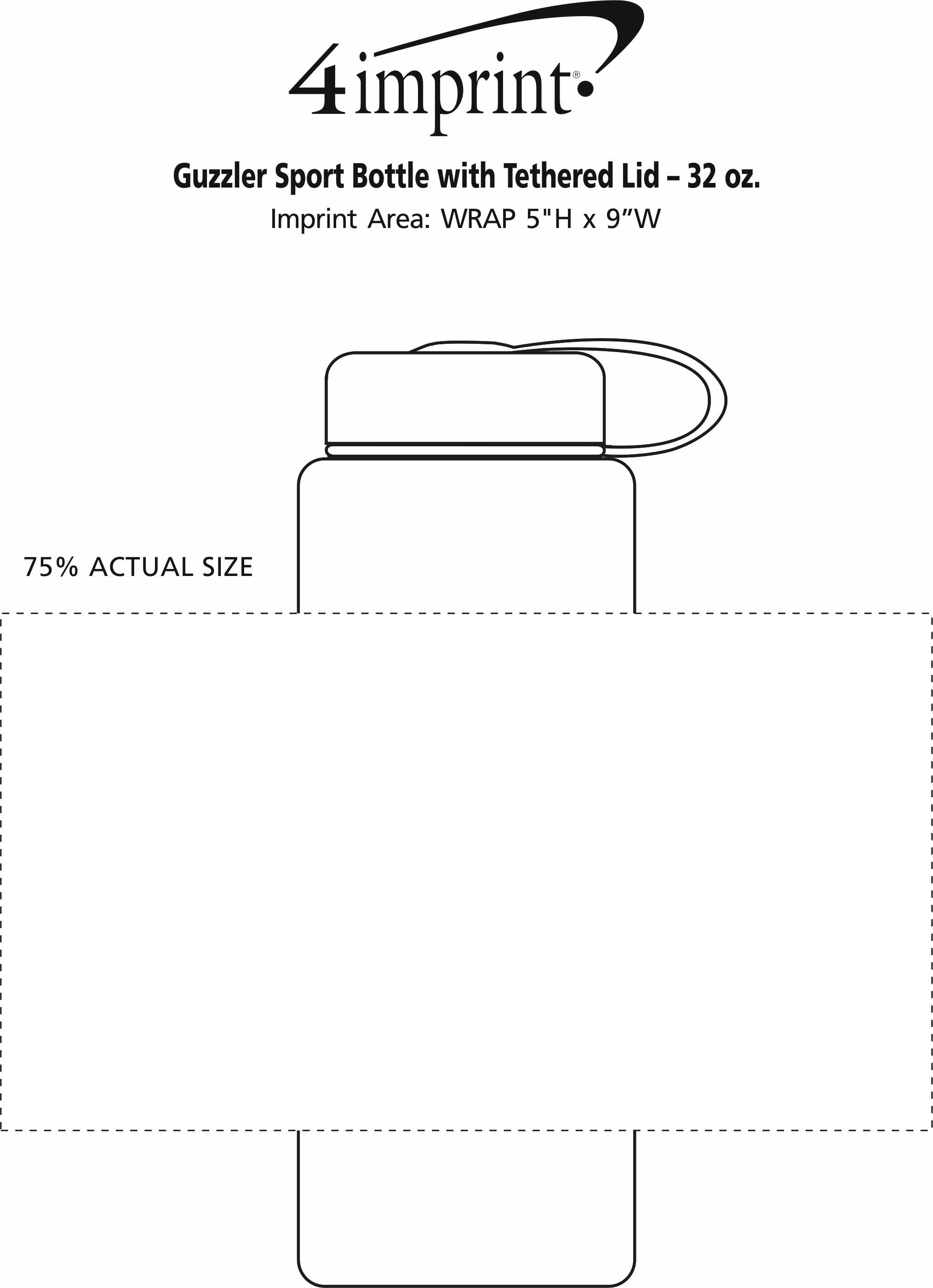 Imprint Area of Guzzler Sport Bottle with Tethered Lid - 32 oz.