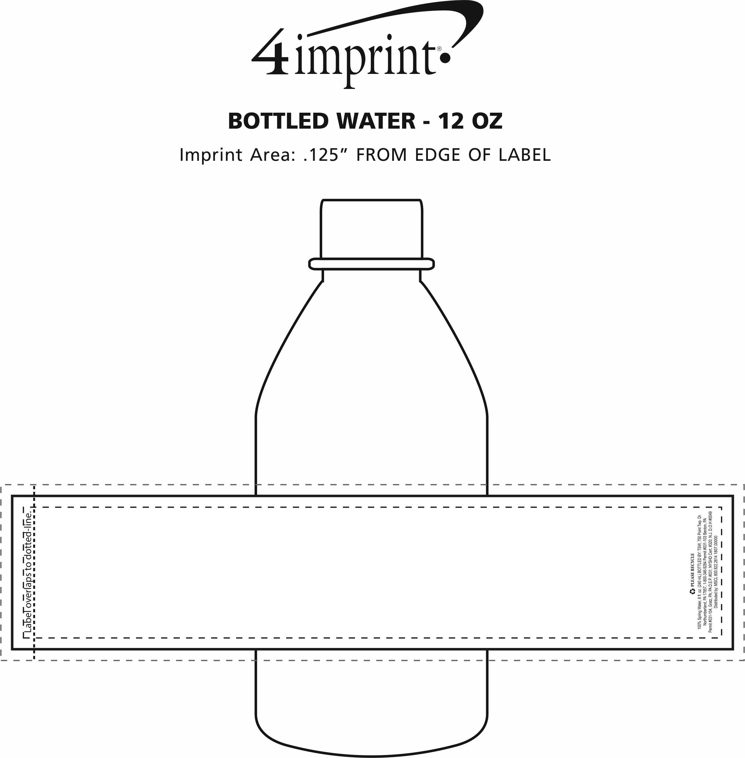 Imprint Area of Bottled Water - 12 oz.