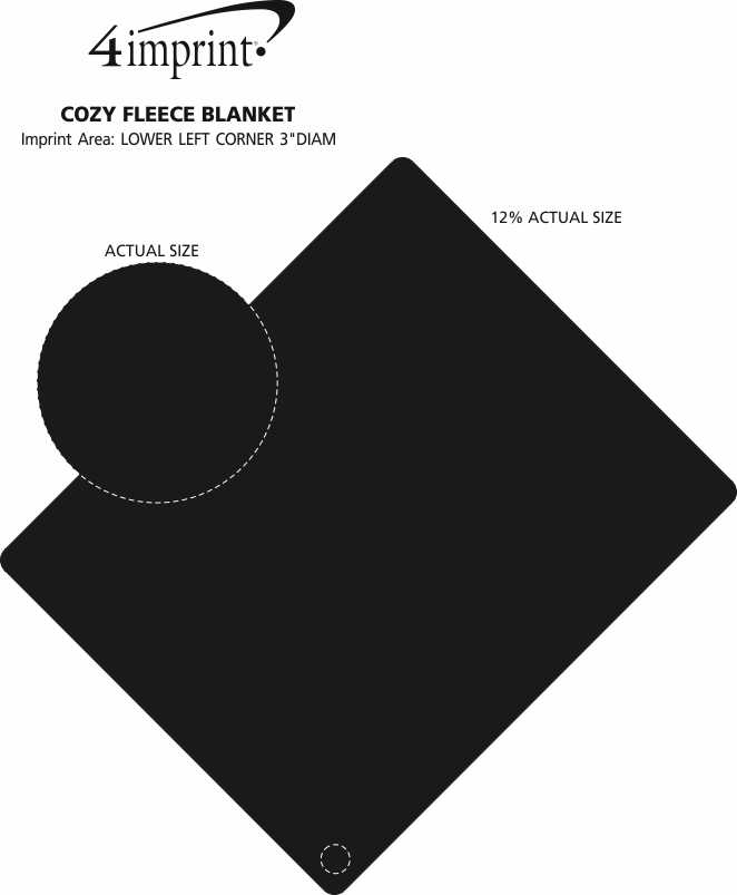 Imprint Area of Cozy Fleece Blanket