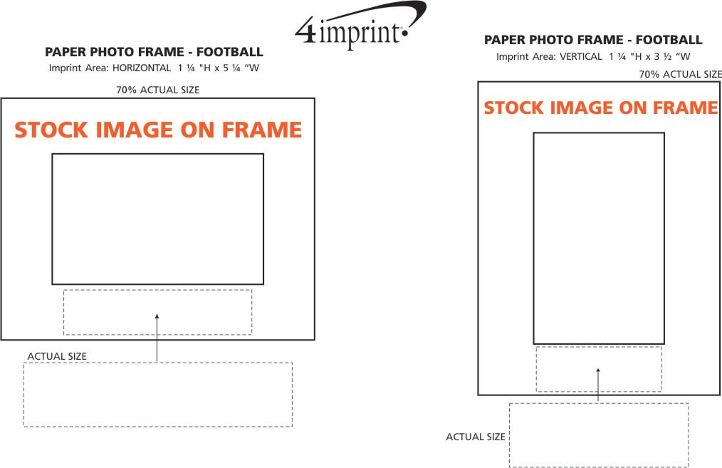 Imprint Area of Paper Photo Frame - Football