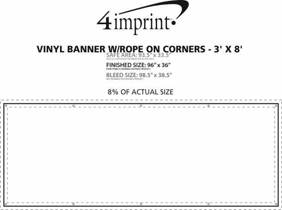 Imprint Area of Vinyl Banner with Rope on Corners - 3' x 8'