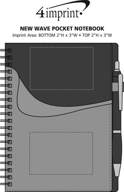 Imprint Area of New Wave Pocket Notebook with Ballpoint Pen