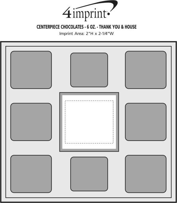 Imprint Area of Centerpiece Chocolates - 6 oz. - Thank You & House
