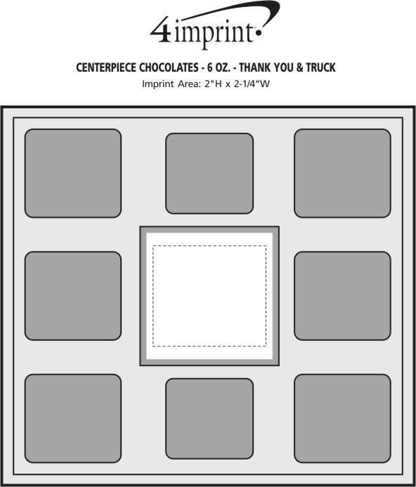 Imprint Area of Centerpiece Chocolates - 6 oz. - Thank You & Truck