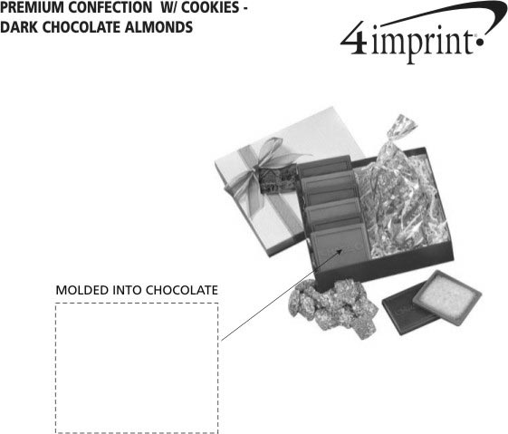 Imprint Area of Premium Confection with Cookies - Dark Chocolate Almonds