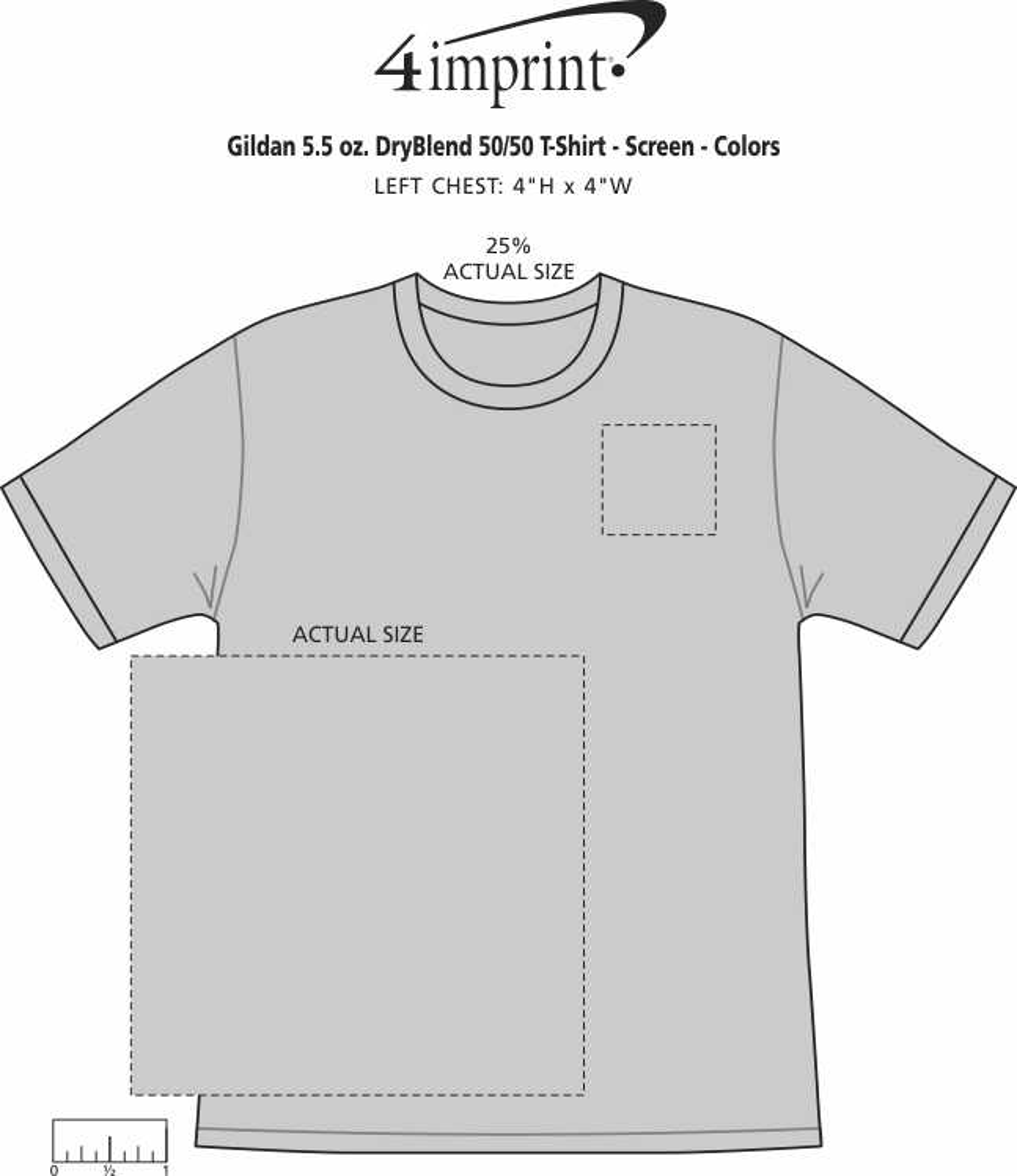 Imprint Area of Gildan 5.5 oz. DryBlend 50/50 T-Shirt - Screen - Colors