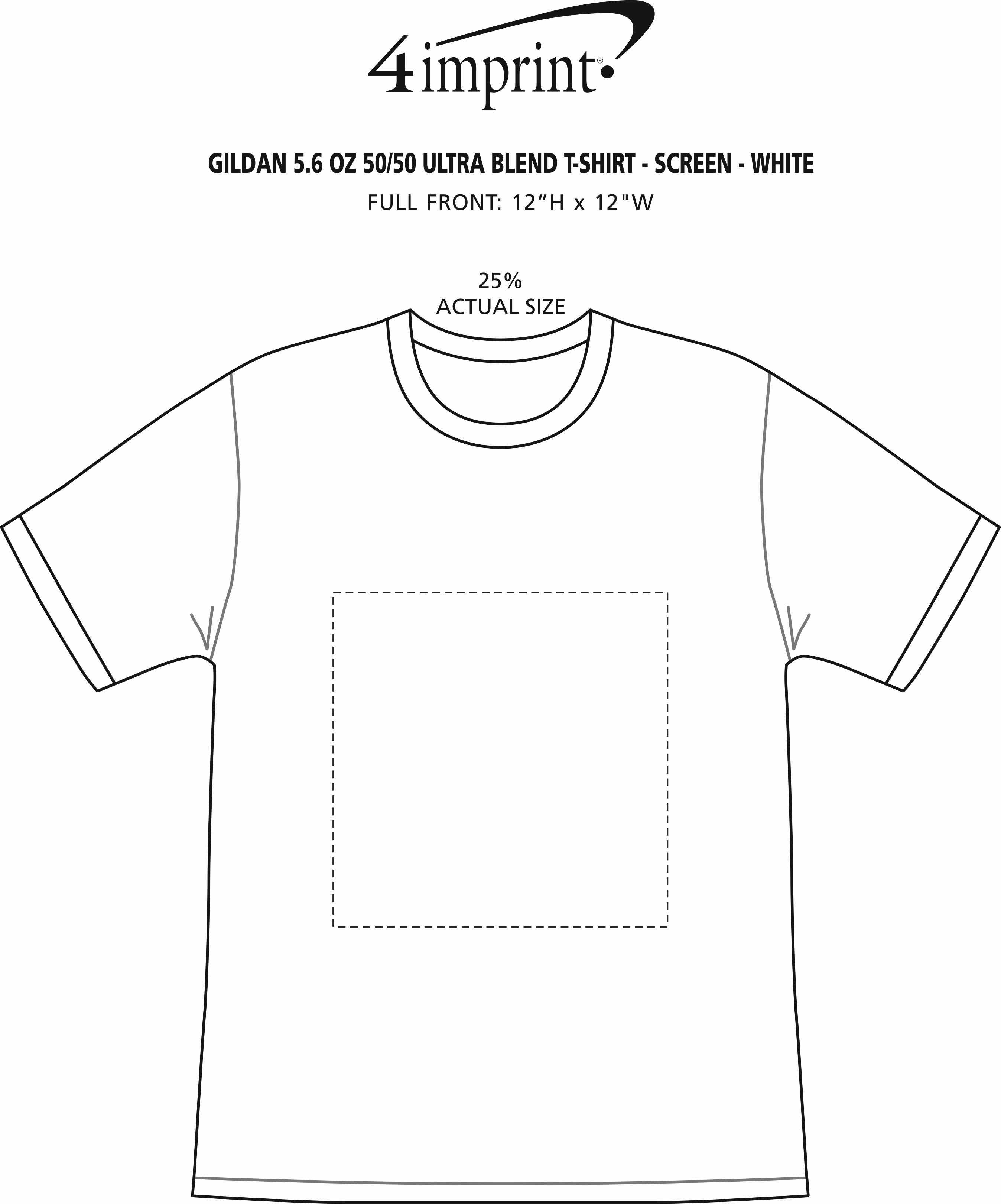 Imprint Area of Gildan 5.5 oz. DryBlend 50/50 T-Shirt - Screen - White