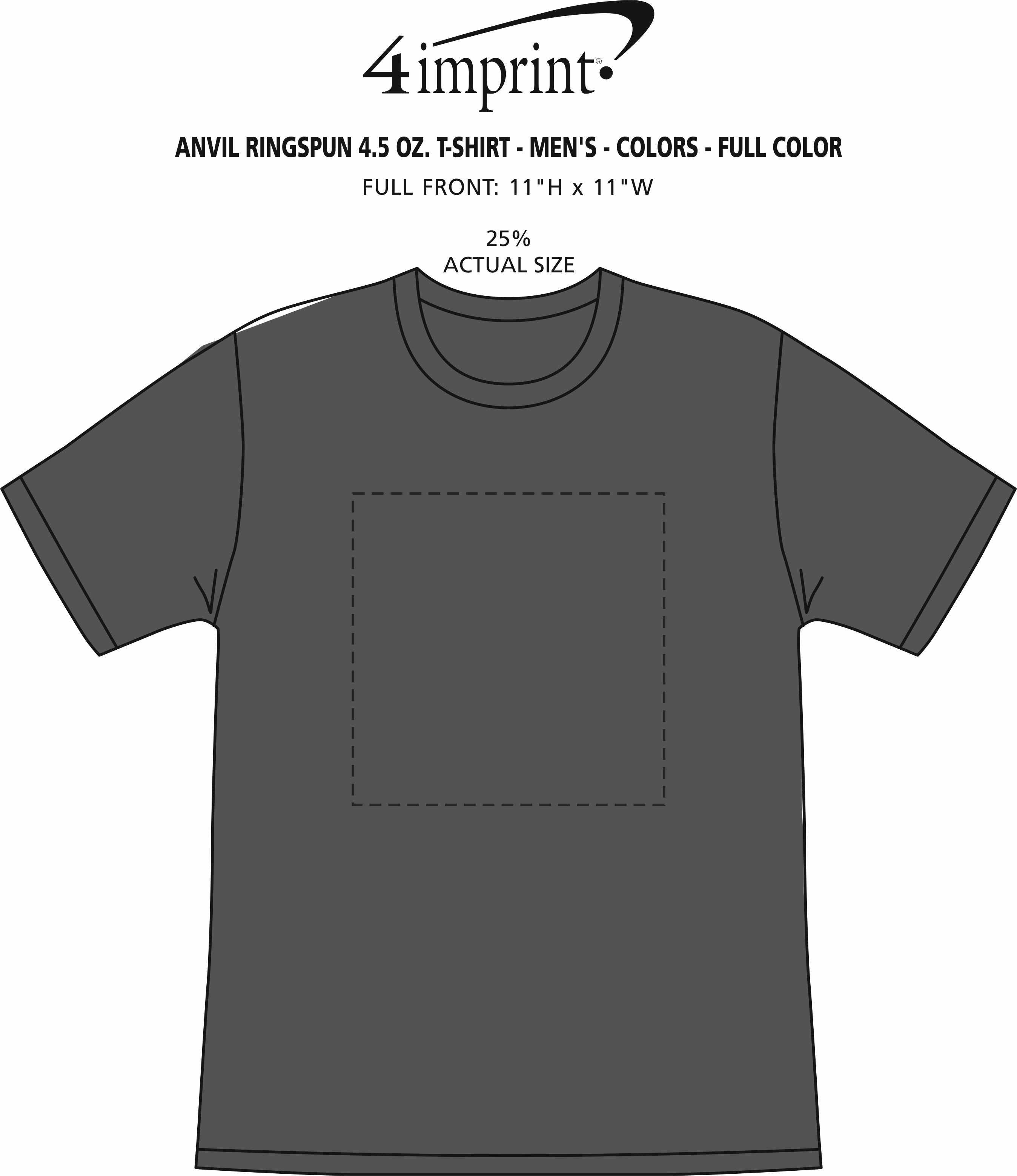 Imprint Area of Anvil Ringspun 4.5 oz. T-Shirt - Men's - Colors - Full Color