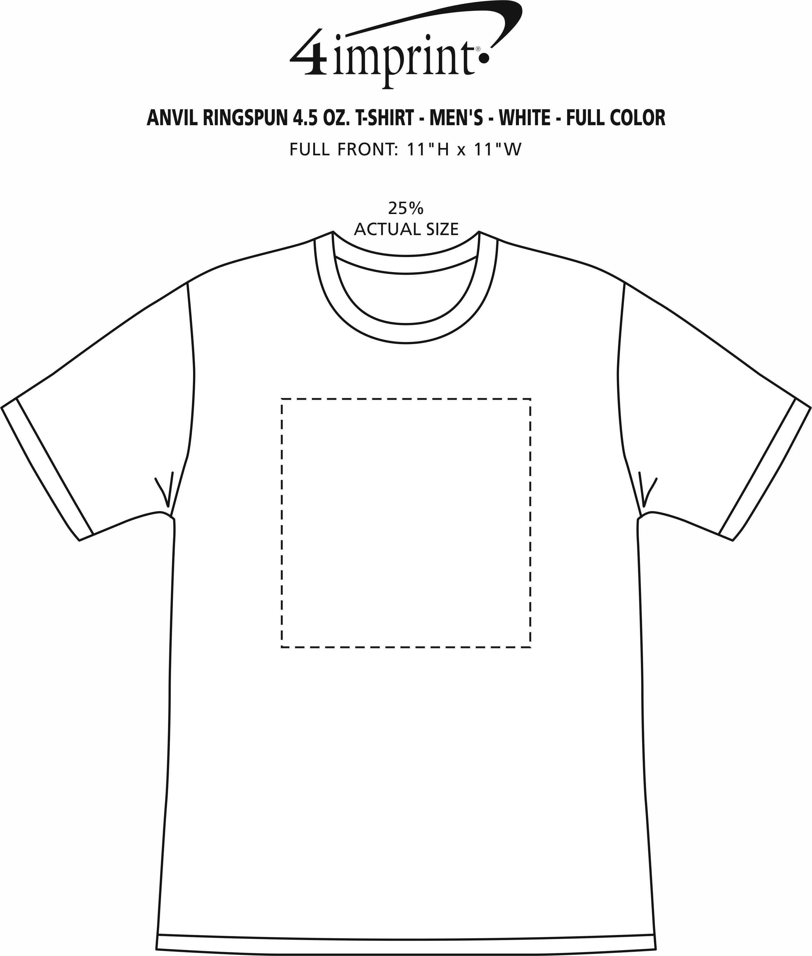 Imprint Area of Anvil Ringspun 4.5 oz. T-Shirt - Men's - White - Full Color