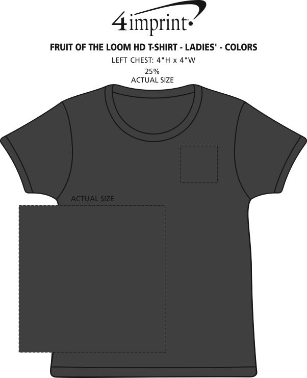 Imprint Area of Fruit of the Loom HD T-Shirt - Ladies' - Colors