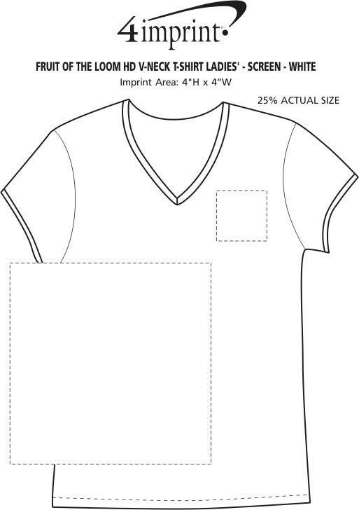 Imprint Area of Fruit of the Loom HD V-Neck T-Shirt Ladies' - Screen - White
