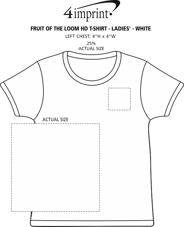 Imprint Area of Fruit of the Loom HD T-Shirt - Ladies' - White