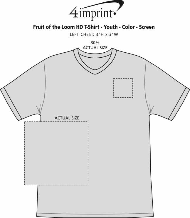 Imprint Area of Fruit of the Loom HD T-Shirt - Youth - Colors - Screen