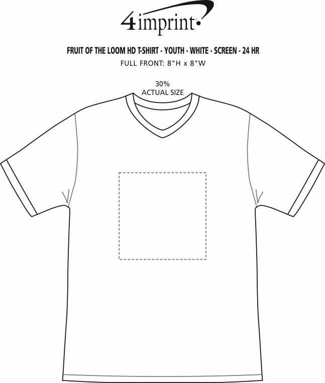 Imprint Area of Fruit of the Loom HD T-Shirt - Youth - White - Screen - 24 hr