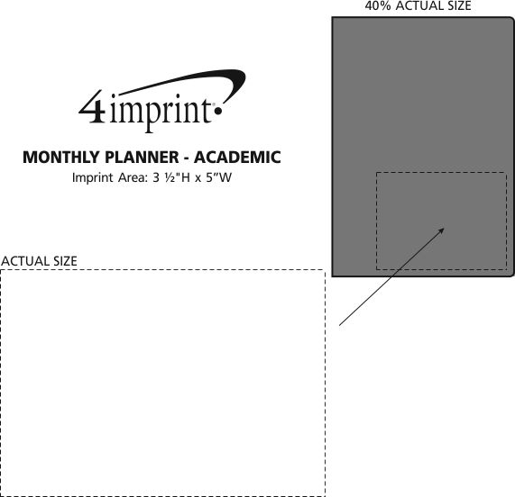Imprint Area of Monthly Planner - Academic