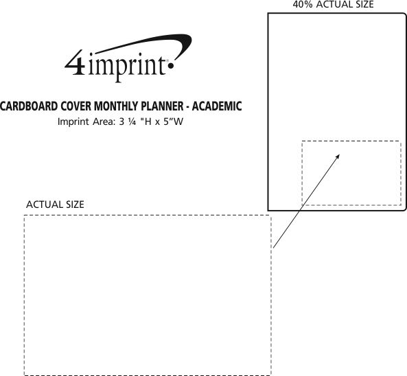 Imprint Area of Cardboard Cover Monthly Planner - Academic