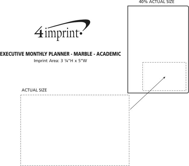 Imprint Area of Executive Monthly Planner - Marble - Academic