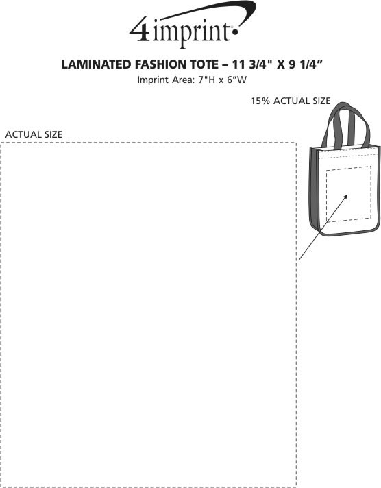 "Imprint Area of Laminated Fashion Tote - 11-3/4"" x 9-1/4"""
