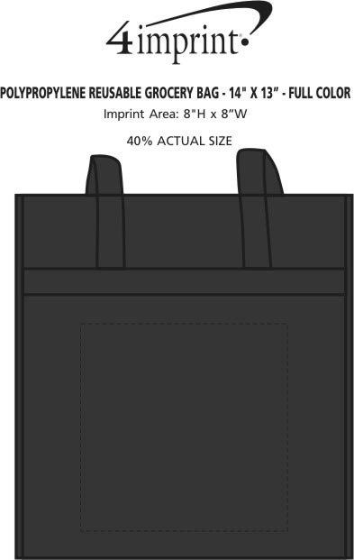 "Imprint Area of Polypropylene Reusable Grocery Bag - 14"" x 13"" - Full Color"